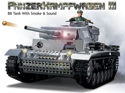 Panzer III RC German Tank Radio Control 1/16 PanzerKampfwagen WWII Military Vehicle with Smoke & Sound