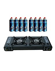 Topflame Dual Burner Double Hob Camping Gas Stove Cooker + 8 Gas Refills