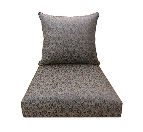 Bossima indoor outdoor black gold damask deep seat chair for Home goods patio furniture cushions