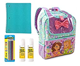 Sofia the First Back to School Kit (Backpack, Notebook, Pencils and Glue Stick) 10 Pieces
