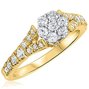 3/4 CT. T.W. Diamond Ladies Engagement Ring 14K Yellow Gold- Size 6.5