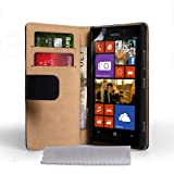 Caseflex Genuine Leather Wallet Cover for Nokia Lumia 925 - Black