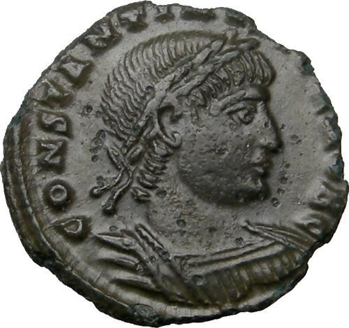 Ancient Roman Coin of Constantine II Junior 2 Legion Soldiers 2 Standards