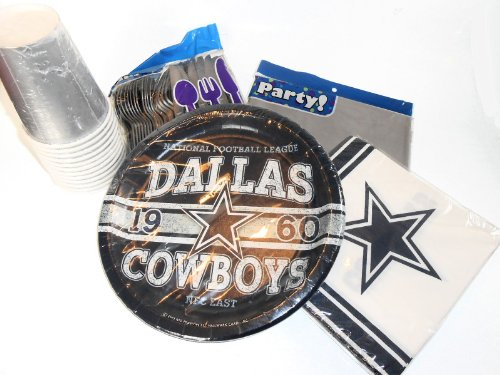 NFL Dallas Cowboys Football Party Supplies - Matching Plates, Napkins & Cups. Plastic Silverware & Tablecover at Amazon.com
