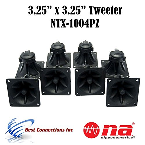 "4 Pair of 3.25"" x 3.25"" Piezo Tweeter Element DJ Speaker Car Audio Square Single Super Horn NTX-1004PZ"