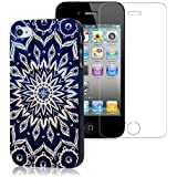 YOKIRIN iPhone 4 4G 4S Hülle PC Hard Case Cover Schutzhülle Totem Blumen Muster Blau( Case+Schutzfolie Display Screen Protector)