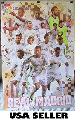 Real Madrid 2013-14 player burst POSTER 23.5 x 34 Cristiano Ronaldo Xabi Jese Isco Pepe Spanish Spain soccer football (sent FROM USA in PVC pipe)