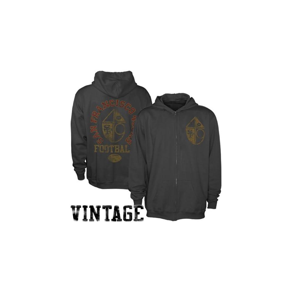 NFL Junk Food San Francisco 49ers Vintage Full Zip Hoodie   Black (Large)