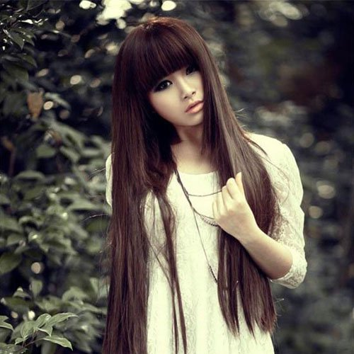 Doramior® High Quality Fashion Romantic Beautiful Women's Long Straight Wig Hair Sexy Neat Bangs Light Brownn