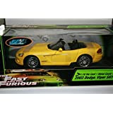 """2003 Dodge Viper SRT-10 Convertible In Yellow Diecast 1:18 Scale From """"The Fast & The Furious"""" By Ra"""