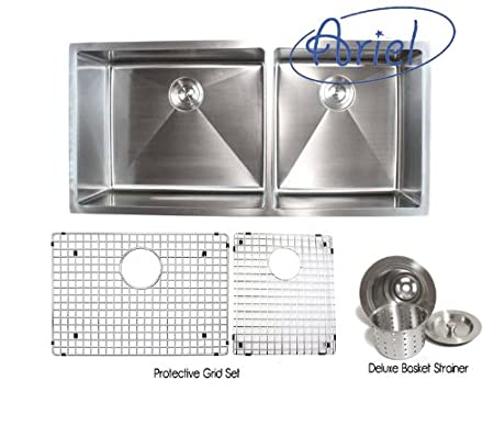 Ariel - 42 Inch Stainless Steel Undermount Double Bowl Kitchen Sink 15mm Radius Design with Accessories