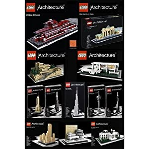 LEGO Architecture Set of 12 - Robie House, Frank Lloyd Wright Fallingwater, F...