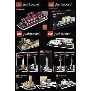 LEGO Architecture Set of 12 - Robie House, Frank Lloyd Wright Fallingwater, F...
