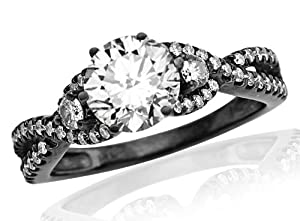 0.9 Carat Round Cut Black Diamond Twisting Split Shank 3 Stone Diamond Engagement Ring (K Color, I2 Clarity)