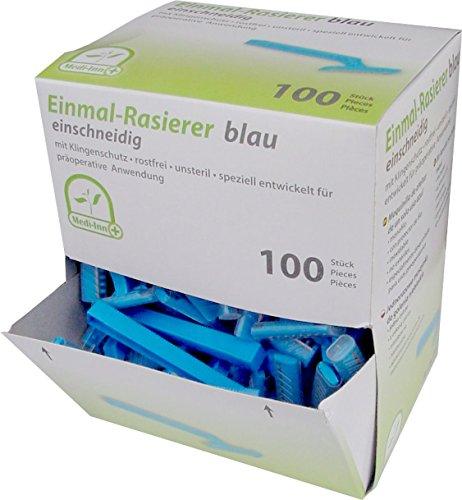 medi-inn-704028-medi-disposable-single-blade-razors-pack-of-100-blue