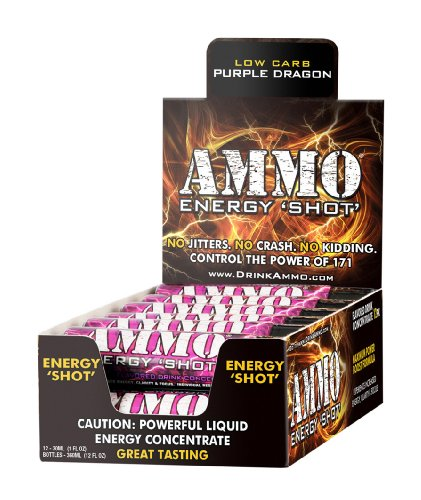 Ammo Energy Shot - PURPLE DRAGON Low Carb, 12-1oz Bottles