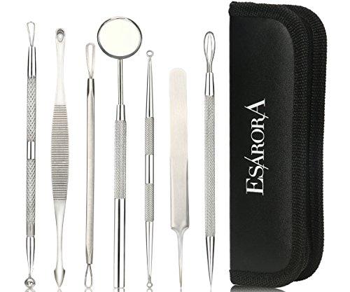 ESARORA Blackhead Remover, Pimple Remover Set of 7 Professional Pimple Exctractor Tools More Easy to Remove Blackhead Acne Pimple and Facial Blemish (style1) (Cheap Edge Control compare prices)