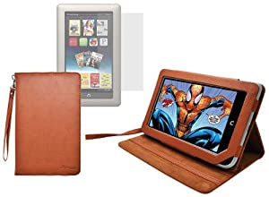 Ionic Stand Leather Case with Screen Protector For Barnes and Noble Nook Tablet (Brown)