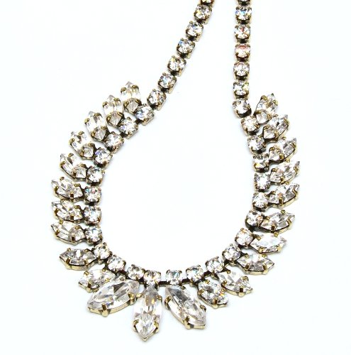 Swarovski Crystal Necklace / Marquise Neckwear in Antique Gold / Swarovski Crystal Necklace in Burnish Gold / Gold Necklace with Clear Swarovski Crystal