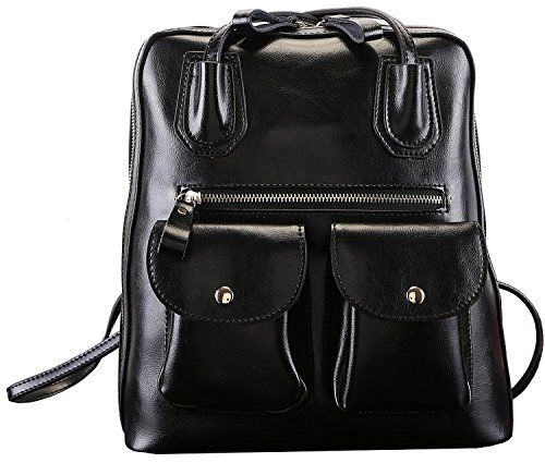 Bg Women College School Style Double Pockets Black High-End Leatherette Books Shoulder Bags Backpack