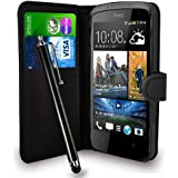 HTC Desire 500 Black Leather Wallet Flip Case Cover Pouch + Touch Stylus Pen + Screen Protector & Polishing Cloth