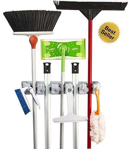 Best Broom Holder | The Most Powerful Grippers Mop Broom Holder. 100% Secure Non-Slide & Sturdy Wall Mount Broom Mop