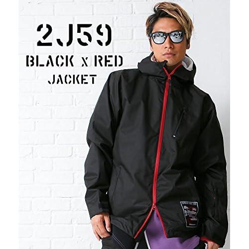 スノーボードウェア ジャケット(M)le-Rhythm(リアリズム) 15-16ユニセックス メンズ レディース ブラックxレッド 2J59