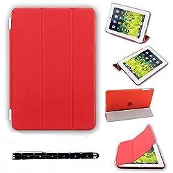 Elite Ultra Thin Smart Flip Foldable Flip Case cover for Apple iPad Mini 3 Retina Tablet with stylus (Sleep/wakeup) (Red)