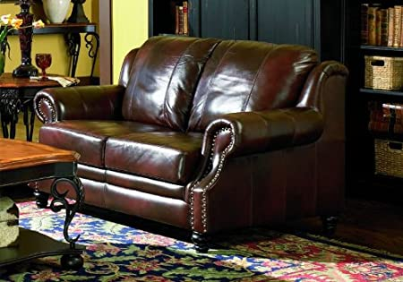 Loveseat Sofa Nail Head Trim Burgundy Tri-Tone Leather