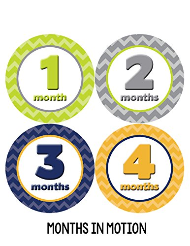 Months in Motion 008 Monthly Baby Stickers Baby Boy Months 1-12 Milestone - 1