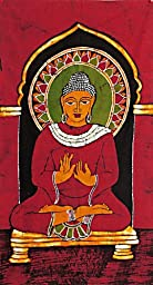 DollsofIndia Lord Buddha - Batik Painting on Cotton Cloth - 36 x 19 inches