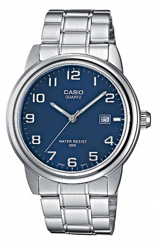 Casio MTP-1221A-2AVEF Gents Watch Quartz Analogue Blue Dial Silver Steel Strap