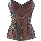 Kiwi-Rata Women's Faux leather Steampunk Spiral steel boning Overbust Corset Brown Size UK 8-10