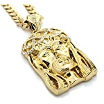 Mens Crowned Jesus Large Gold Plated Iced Out Pendant 30 Inch Necklace Gold Cuban Chain