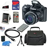 Canon PowerShot SX500 IS 16.0 MP Digital Camera (Black) + NB-6L Battery + 8pc Bundle 16GB Accessory Kit