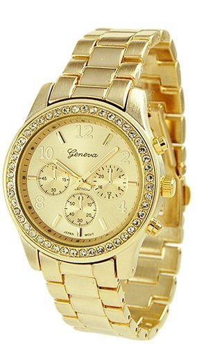 Geneva Chronograph Look Watch with Crystals..Gold Tone Metal Link Picture