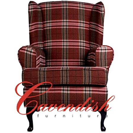 Cavendish Furniture Tartan Balmoral Deep Seat Orthopedic Chair, Red, 21-Inch