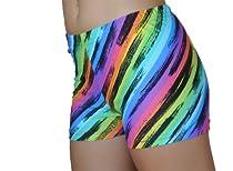 Rainbow Stripes Spandex Compression Shorts (Rainbow Stripes, 4 In. Adult XS 0-2)