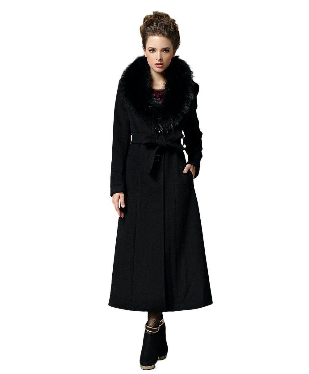 Женское шерстяное пальто Teenloveme 2013 New Arrival Women's Long Fur Collar Wool Coat Winter Outwear
