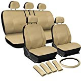 Oxgord 17pc Set PU Leather / Solid Tan Auto Seat Covers Set - Airbag Compatible - Front Low Back Buckets - 50/50 or 60/40 Rear Split Bench - 5 Head Rests - Universal Fit for Car, Truck, Suv, or Van - FREE Steering Wheel Cover