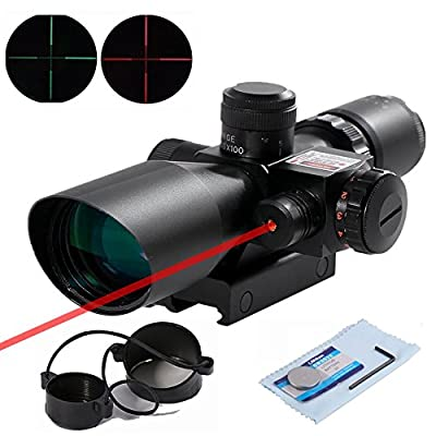 Beileshi Rifle Scope Red Dot Tactical 2.5-10x40 Red Laser Sight Dual Illuminated Mil-dot with Rail Mount by Beileshi