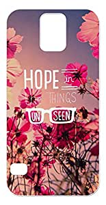 Hope in The Things Unseen Quotes with Red Flowers Background Design Soft TPU Phone Case for Galaxy S5 (2D, White)