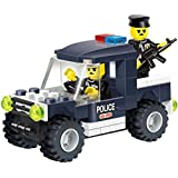 Police Badge Building Blocks Series Toy Car Set With Mini Policeman Officer In The Emergency Vehicle With Gun...