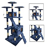 """New 73""""Navy Blue Cat Tree Scratcher Play House Condo Furniture Toy Bed Post Pet House 9073"""