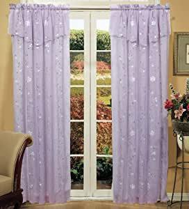 Daisy embroidered floral window curtain panel 50x84 in 6 colors gold ivory - Mint green kitchen curtains ...