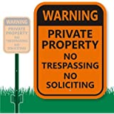 """SmartSign Aluminum Sign, Legend """"Warning: Private Property No Trespassing"""", 12"""" high x 9"""" wide sign plus 3' tall stake, Black on Orange"""
