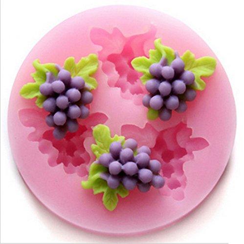SHINA Trois trous légumes fruit pois 3D silicone Fondant Moules sucre Craft Outils Moule à Gâteau à Chocolat à Biscuit à Savon à Flan à Gelée (raisins)