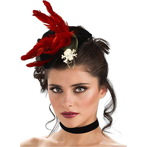 Black Pirate Mini Hat with Feathers