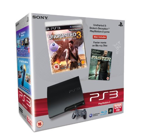 Sony PlayStation 3 Console (320GB Slim Model) with Uncharted 3 and Faster (Blu-ray Movie) Bundle