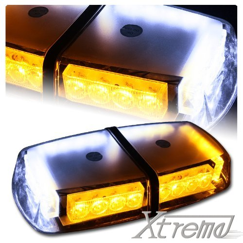 Xtreme® Yellow&White High Wattage Law Enforcement Emergency Hazard Warning Led Mini Bar Roof Top Strobe Light With Magnetic Base